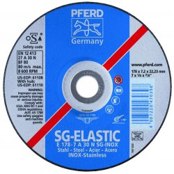 "Pferd - 61114 - 4-1/2"" x 1/4"" Straight Grinding Wheel, Aluminum Oxide, 5/8""-11 Arbor Size, Type 1, SG-INOX"