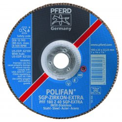 Pferd - 62092 - 4-1/2 X 7/8 Polifan Sgpextra Zirc Flat 80g