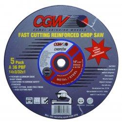 """CGW Abrasives - 35685 - 14""""x3/32""""x1"""" A36p Pk/5 Saw Blades"""