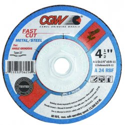 CGW Abrasives - 36255 - 4 1/2 X 1/4 X 7/8 A24-r-bf Steel T27
