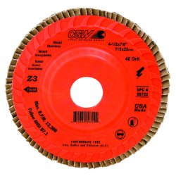"CGW Abrasives - 39722 - 4-1/2"" X 7/8"" Compact Z3trimmable 40 Grit"