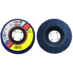 "CGW Abrasives - 42346 - 4-1/2""x7/8"" Z3-120 T27xl 100% Za Flap Disc, Ea"