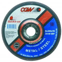 "CGW Abrasives - 45007 - 6""x.045x7/8"" T27 Za60-s-bf Quickie C.o. Whl"