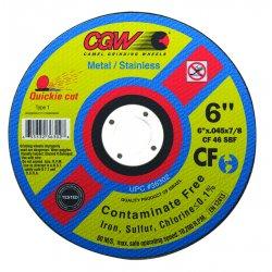"CGW Abrasives - 45017 - 6""x.045x7/8"" Wa60-r-bft27 Quickie Cut Whl"