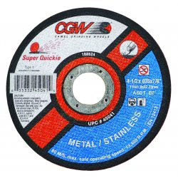 "CGW Abrasives - 45099 - 4-1/2"" X .045 X 7/8 Type27 Super Quickie Wheel, Ea"