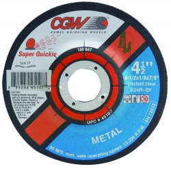 CGW Abrasives - 45107 - 4-1/2x1/8x7/8- T27- A24rsuper Quickie- (3mm)