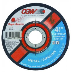 CGW Abrasives - 45109 - 4-1/2x1/8x7/8- T27- A24tpipeline Super Quickie