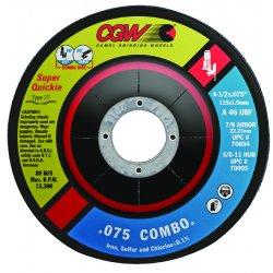 CGW Abrasives - 70095 - 4.5x.075 (5/64)x5/8-11 A46u Cut/grind Combo T27