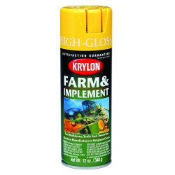 Krylon - K01957000 - Farm and Implement Spray Paint in High Gloss School Bus Yellow for Metal, Wood, 12 oz.