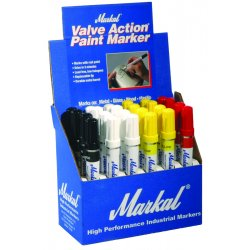 Markal - 96810 - White Valve Action Paintmarker Display, Ea
