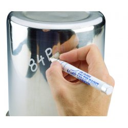 "Nissen - 00390 - Nissen White Feltip Low Chloride Paint Marker With 1/8"" Wide Point"