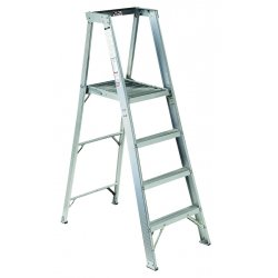 "Louisville Ladder - AP1004 - Aluminum Platform Stepladder, 5 ft. 8"" Ladder Height, 3 ft. 10"" Platform Height, 300 lb."