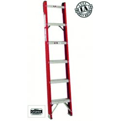 "Louisville Ladder - FH1007 - Fiberglass Straight Ladder, 7 ft. Ladder Height, 15-3/16"" Overall Width, 300 lb. Load Capacity"