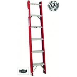 "Louisville Ladder - FH1012 - Fiberglass Straight Ladder, 12 ft. Ladder Height, 15-3/16"" Overall Width, 300 lb. Load Capacity"