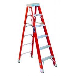 "Louisville Ladder - FS1408HD - Louisville 8 ft Fiberglass Step Ladder - 7 Step - 375 lb Load Capacity - 96"" - Orange"