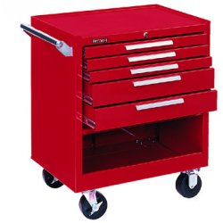 Kennedy - 295R - 10147 Roller Cabinet 5 Drawers Smooth Red