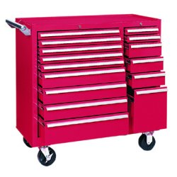 Kennedy - 315XR - Kennedy 315XR 39-Inch 15-Drawer Ball-Bearing Slide Roller Tool Cabinet - Red