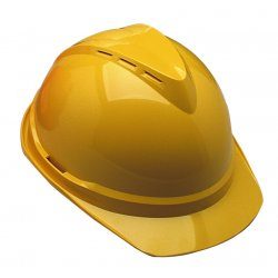 MSA - 10034022 - MSA Red V-Gard 500 Polyethylene Slotted Cap Style Hard Hat With Fas Trac 4 Point Ratchet Suspension