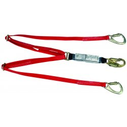 MSA - 10047085 - MSA 6' FP5K Nylon Web Twin-Leg Tie-Back Energy-Absorbing Lanyard With 36C Snap Hook On One End, (2) FP5K Carabiner On Other End And Sure-Stop Shock Absorber