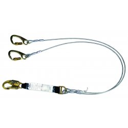 MSA - 10047087 - MSA 6' FP5K Nylon Web Twin-Leg Tie-Back Energy-Absorbing Lanyard With HSL2000 36C And (2) FP5K Carabiner On Other End And Sure-Stop Shock Absorber, ( Each )