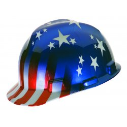 MSA - 10052945 - MSA Freedom Series V-Gard Polyethylene Cap Style Hard Hat With Fas Trac Ratchet Suspension And American Stars And Stripes Graphics, ( Each )