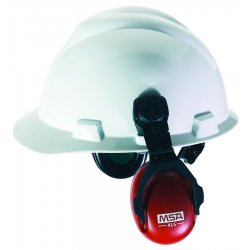 MSA - 10061535 - MSA XLS Black And Red Cap Mount Earmuffs With Brackets, For Slotted Hard Caps