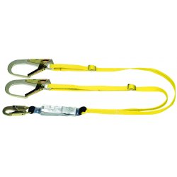 MSA - 10072475 - MSA 6' Workman 1' Polyester Twin-Leg Energy-Absorbing Lanyard With LC Snap Hook Harness Connection And (2) GL3100 Snap Hook Anchorage Connection