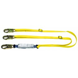 "MSA - 10073708 - MSA 6' Workman 1"" Polyester Twin-Leg Energy-Absorbing Lanyard With LC Snap Hook Harness Connection And (2) LC Snap Hook Anchorage Connection"