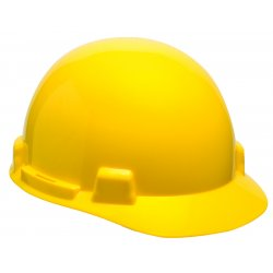 MSA - 10074069 - MSA Yellow SmoothDome Polyethylene Cap Style Hard Hat With Fas Trac 4 Point Ratchet Suspension