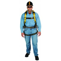 MSA - 10077572 - MSA X-Large Workman Construction Style Harness With Qwik-Fit Chest Strap Buckle, Tongue Leg Strap Buckle, Back And Hip D-Ring, Shoulder Pad, Integral Back Pad And Tool
