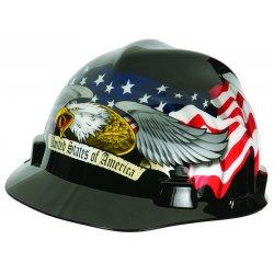 MSA - 10079479 - Front Brim Hard Hat, 4 pt. Ratchet Suspension, Black, Hat Size: 6-1/2 to 8
