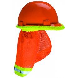 MSA - 10098031 - MSA Hi-Viz Orange Polyester Mesh Sunshade With Reflective Stripe On Orange Band