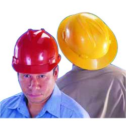 MSA - 454736 - MSA Red V-Gard Polyethylene Slotted Full Brim Hard Hat With Staz On 4 Point Pinlock Suspension