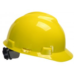 MSA - 475360 - Front Brim Hard Hat, 4 pt. Ratchet Suspension, Yellow, Hat Size: 6-1/2 to 8""