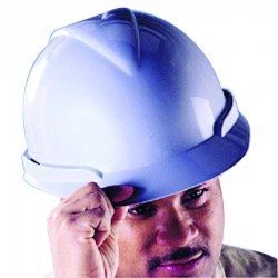 MSA - 804940 - MSA White Vanguard HDPE Cap Style Hard Hat With Fas-Trac Ratchet Suspension And Accessory Slots, ( Each )