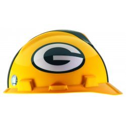 MSA - 818395 - MSA Green And Yellow NFL V-Gard Polyethylene Cap Style Hard Hat With 1 Touch 4 Point Pinlock Suspension, Adjustable Strap, And Green Bay Packers Logo, ( Each )