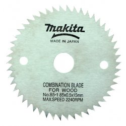 "Makita - 792299-8 - 3-3/8"" Fine Tooth Blade50t 15mm Arbor, Ea"