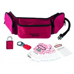 Master Lock - 1456P1106KA - Master Lock Red Anodized Aluminum Personal Lockout Pouch Kit Boron Alloy Shackle, ( Each )