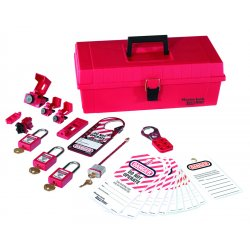 Master Lock - 1457E1106KA - Master Lock Red Anodized Aluminum Personal Lockout Pouch Kit Boron Alloy Shackle