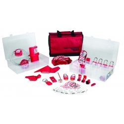 Master Lock - 1458VE410 - Portable Lockout Kit, Filled, Electrical/Valve Lockout, Satchel, Red