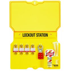 "Master Lock - 1482B - Master Lock Unfilled Lockout Station - 4 x Padlock - 12.3"" Height x 16"" Width x 1.8"" Depth - Wall Mountable - Yellow Frame, Cover - Plastic - 1Each"