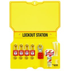 Master Lock - 1482BP410 - Lockout Station 4 Lock With Xenoy Locks Yellow Polycarbonate 12.25 Hx16 Wx1.75 D Master Lock, Ea