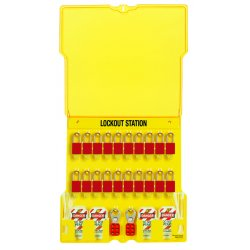Master Lock - 1484BP1106 - Lockout Station 20 Lock With Aluminum Locks Yellow Polycarbonate 22 Hx22 Wx1.75 D Master Lock, Ea