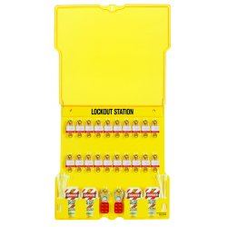 Master Lock - 1484BP3 - Lockout Station 20 Lock With Steel Locks Yellow Polycarbonate 22 Hx22 Wx1.75 D Master Lock, Ea