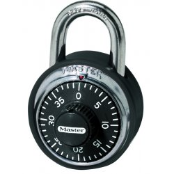 Master Lock - 1500 - Master Lock Black Stainless Steel Combination Security Padlock Hardened Steel Shackle