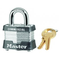 Master Lock - 3DCOM - Master Lock Silver Laminated Steel General Security Padlock Hardened Steel Shackle
