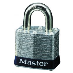 Master Lock - 3DLF - Master Lock Silver/Blue Laminated Steel General Security Padlock Hardened Steel Shackle