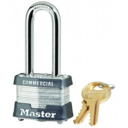 Master Lock - 3DLHCOM - Master Lock Silver Laminated Steel General Security Padlock Hardened Steel Shackle