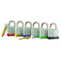 Master Lock - 3LFRED - Master Lock Red Laminated Steel 4 Pin Tumbler Padlock Hardened Steel Shackle