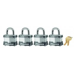 Master Lock - 3QCOM - 4 Pin Tumbler Safety Padlock Set (4 Locks) Diffe